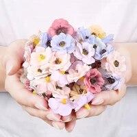 Mini tetes de fleurs de marguerite multicolores 3cm  50 pieces  fleurs artificielles en soie pour couronne de noel  Scrapbooking  decoration de mariage a domicile