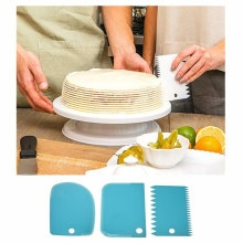 Kitchen Accessories 3Pcs Plastic Baking Cake Scraper Dough Cream Cutter Kitchen Gadgets Kitchenware