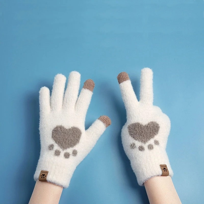 Women Autumn Winter Gloves Touch Screen Cat Paw Pattern Warm Cold Glove Outdoor Sprot Cycling  Knitt