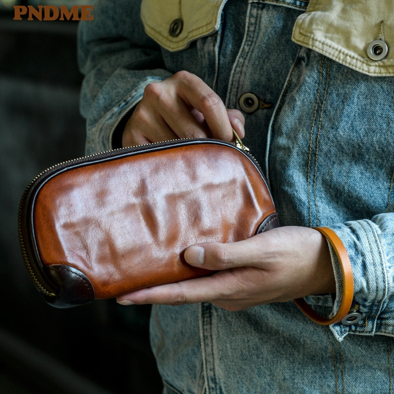 Simple luxury handmade genuine leather men's clutch bag fashion casual natural first layer cowhide card holder phone wallet aetoo handmade leather wallet head layer cowhide money clip simple design male and female general