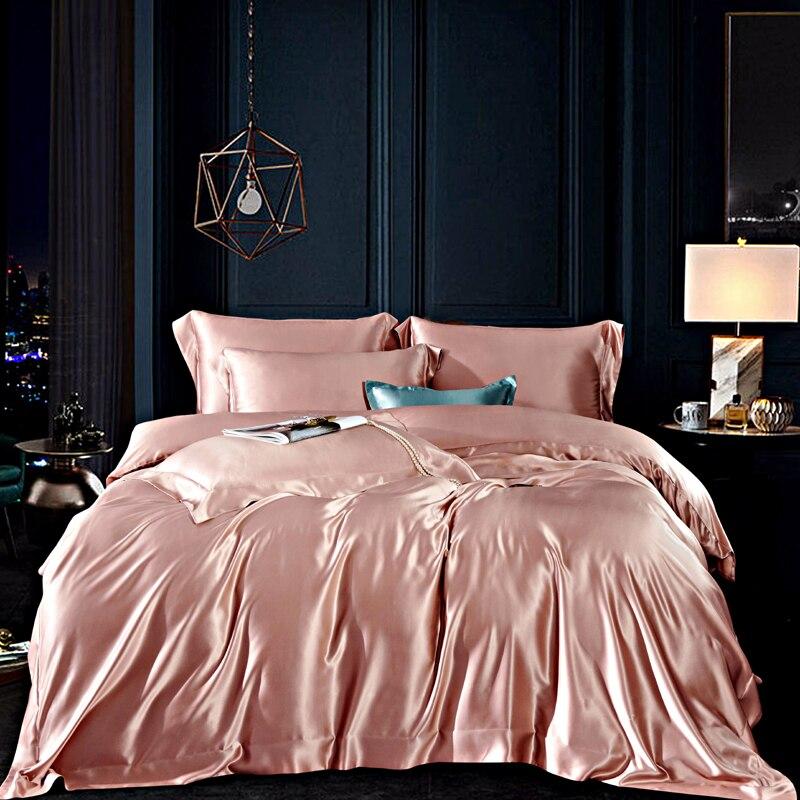 MANSPHIL الفاخرة 100% الحرير 30 طقم سرير المومياء الحرير صحي الجلد الجمال المخدة الكبار غطاء السرير لون نقي أربع قطع مجموعة