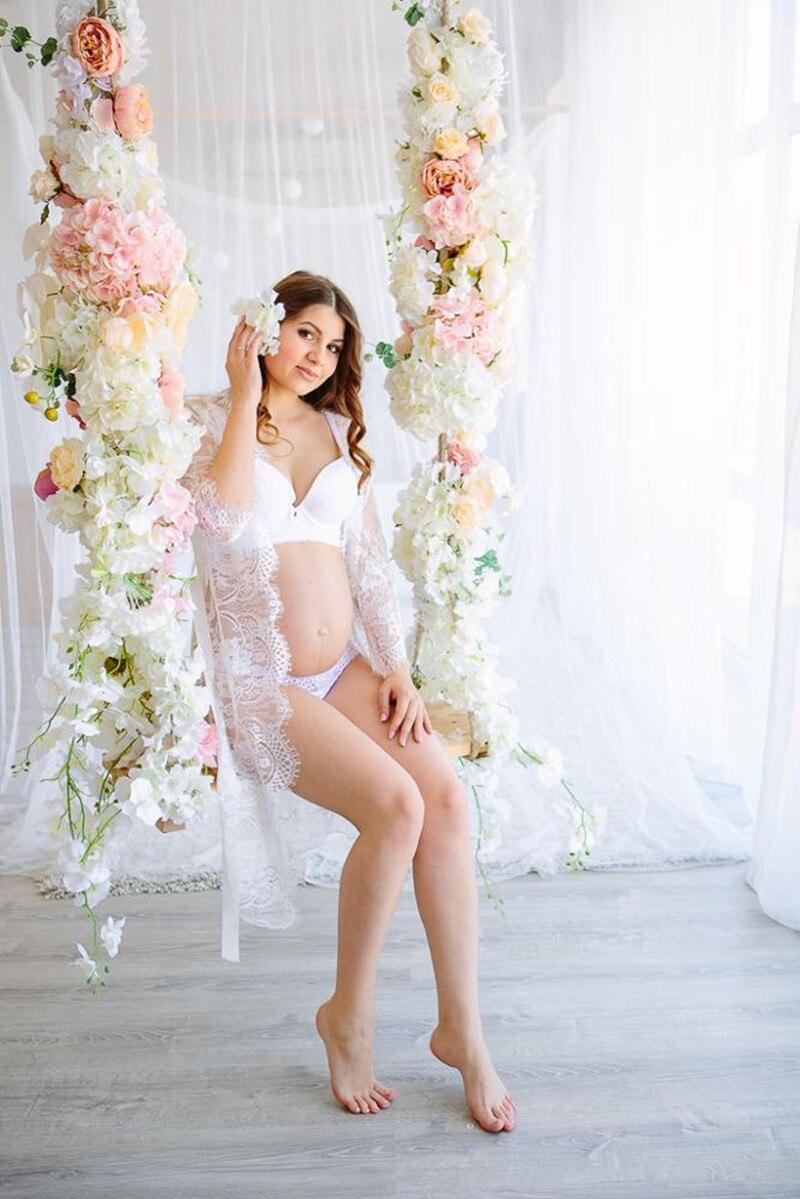 Summer White Lace Maternity Dress Eyelashes Lace Pregnancy Dress Maternity Potography Props Maternity Nightdress Sleepwear