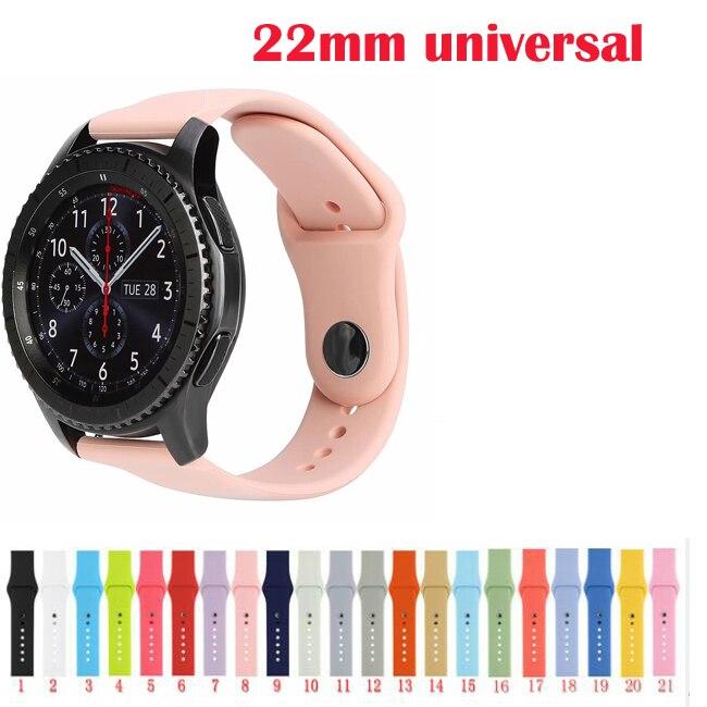 22mm, 20mm, para Samsung Galaxy activo 2 42 46mm s2 S3 Ticwatch S S2 E pro Huawei GT 2 banda de silicona amazfit GTR GTS 3 2 s 1 bip Correa