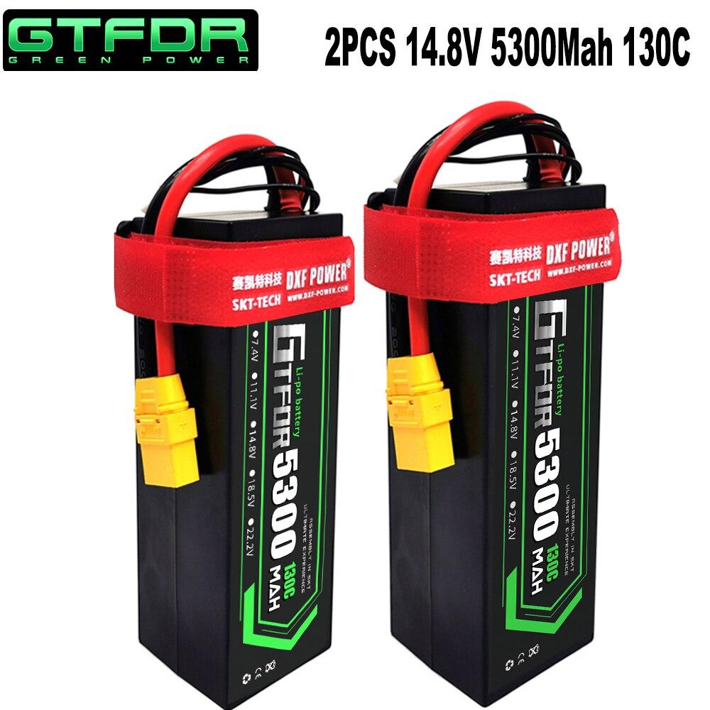 DXF 2PCS 4S Lipo Battery 14.8V 5200mAh 5300mAh 6500mAh 7300mAh 50C 100C 80C 160C 130C 260C Hardcase For 1/8 Buggy RC Car Truck enlarge