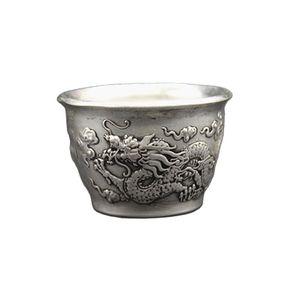 China Folk Tibet Silver WineGlass Double Dragon Opera Pattern