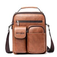 new casual men pu leather fashion solid zipper shoulder bags small travel messenger high capacity bags wholesale good quality