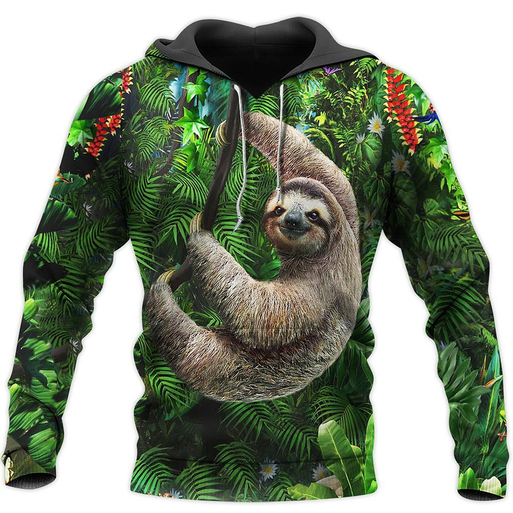 3D All Over Printed Beautiful Sloth Pullover Unisex Autumn Winter Casual Hoodies Fashion Hip-hop Jacket W-202