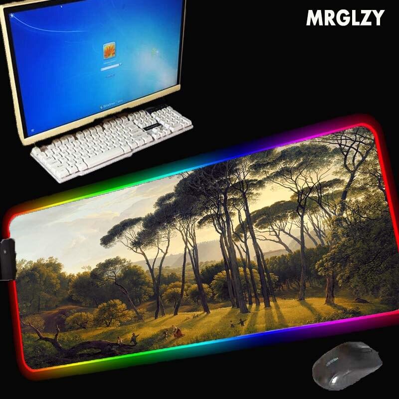 MRGLZY-لوحة ماوس كبيرة XXL ، RGB ، 40 × 90 سم ، سجادة مكتب ملونة ، مقاومة للماء ، غير قابلة للانزلاق ، للاستخدام المنزلي