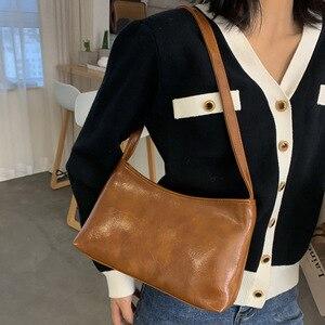 Vintage Baguette Women's Bag PU Leather Shoulder Bag Simple Solid Color Lady Handbag Designer Armpit Bag Girls Shopping Purse