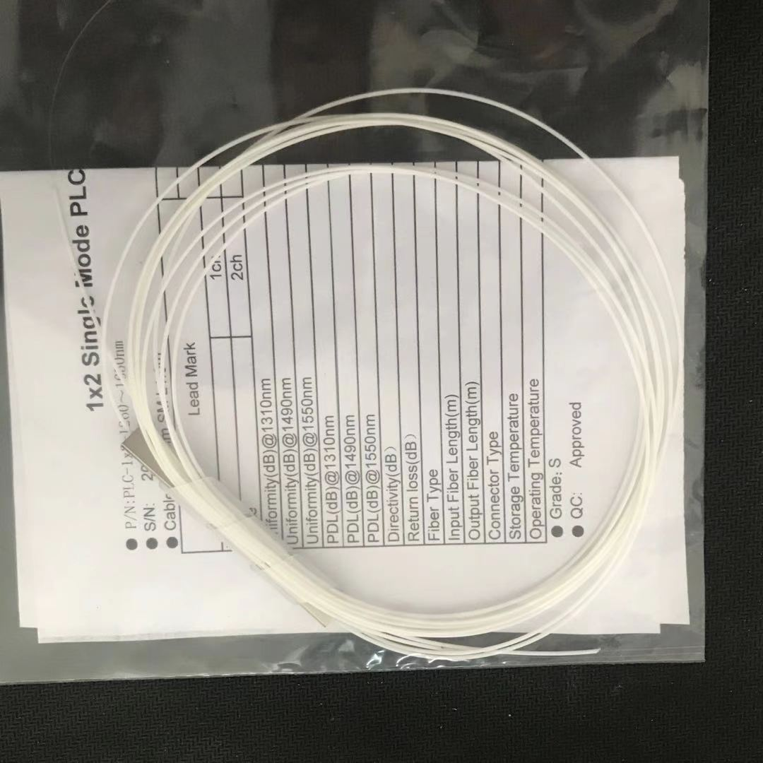 10pcs/lot 1x2 1x4 1x8 1x16 fiber optic PLC splitter without connector cable 0.9mmMini Blockless 2,4 Ports PLC Splitter