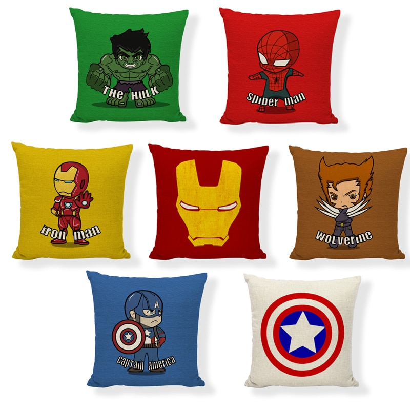 45*45 Disney Marvel Superhero Spiderman Ironman Hulk Wolverine Captain Pillow Covers Avengers Cars Home Indoor Silk Pillowcases