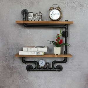 Wall Bookshelf Industrial Style Retro Antique 2 Layer Bookcase Vintage Bar Cabinet Living Room Furniture Shelves Stand for Books