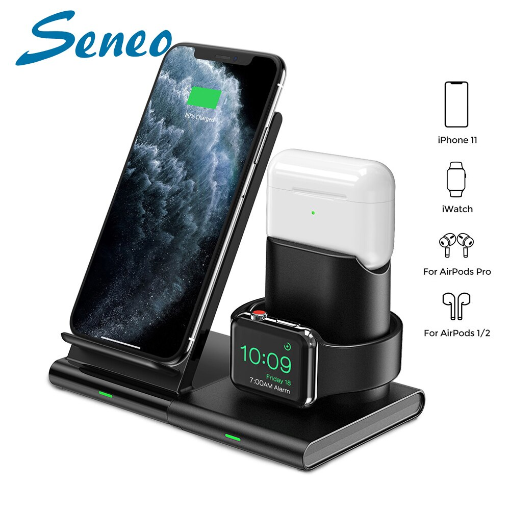 Seneo-محطة شحن لاسلكية 3 في 1 لأجهزة Iphone و Apple Watch وملحقات الهاتف الخلوي ومحطة الشحن اللاسلكية و PA191
