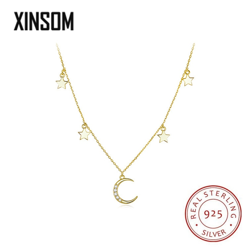 XINSOM 925 Sterling Silver Moon Star Pendant Necklace For Women Luxury AAA Cubic Zirconia Party Wedding Necklace Fine Jewelry bff infinity necklace 925 sterling silver aaa cubic zirconia cyrstal necklace always best friend sister forever gift p6093b