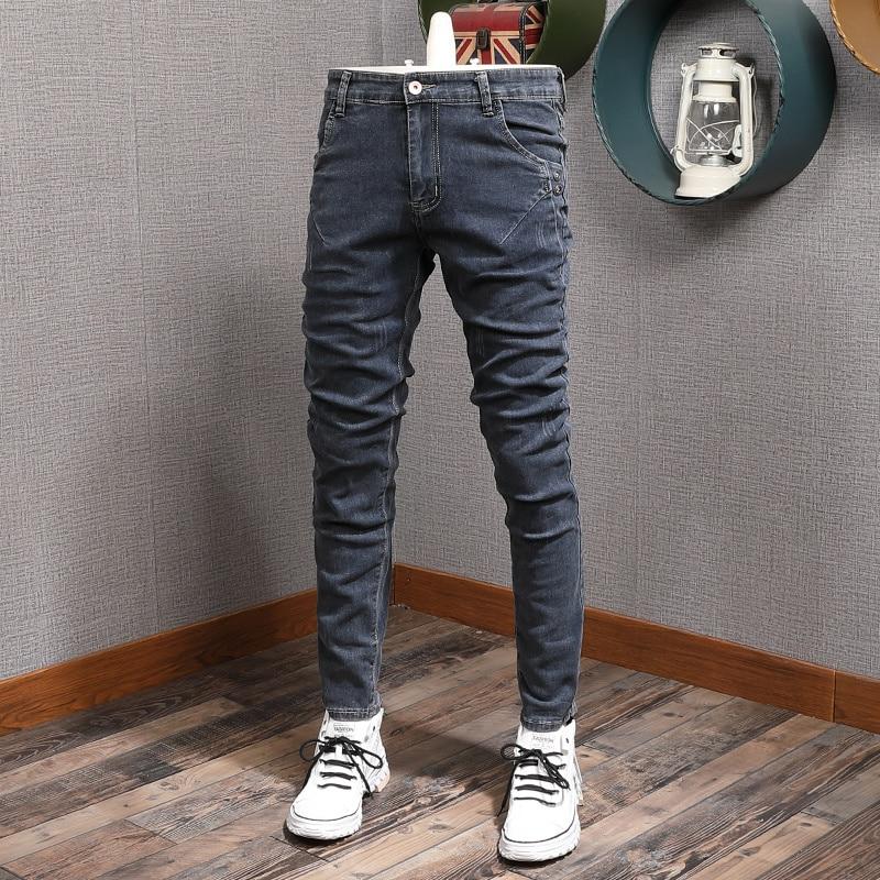Новые дизайнерские модные мужские джинсы Ретро Синие Серые облегающие эластичные повседневные джинсовые брюки-карандаш в Корейском стиле ...