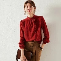100 silk blouse women shirt simple design lace o neck long sleeves 2 colors translucent fabric casual top new fashion