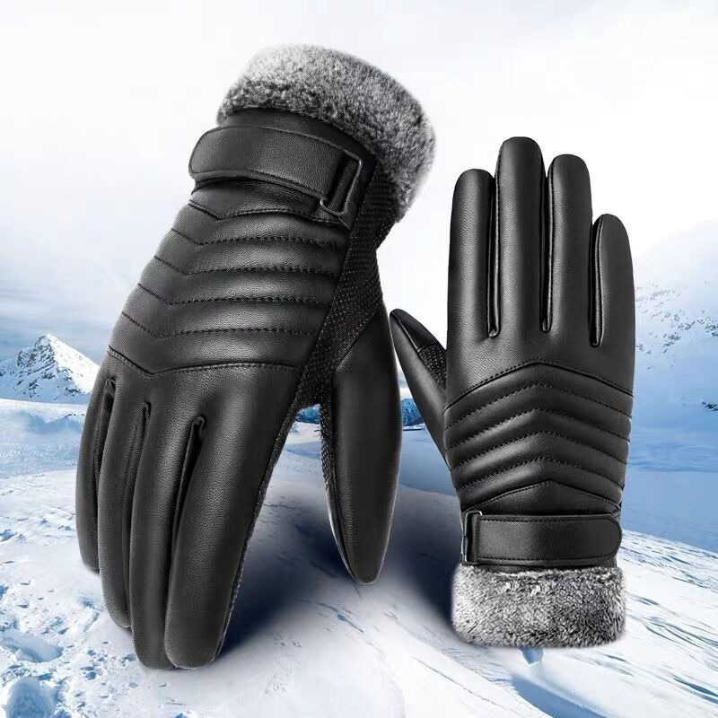 Thick PU Leather Touch Screen Gloves Men Winter Waterproof Anti-Slip Full Finger Gloves Mountaineeri