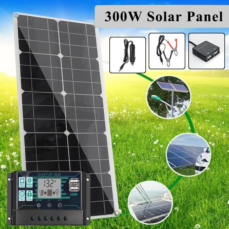 300 واط 12 فولت ~ 18 فولت مجموعة اللوحة الشمسية كاملة شاحن طاقة شمسية MPPT تحكم شاشة عرض ال سي دي المزدوج في الهواء الطلق إمداد الطاقة النقال