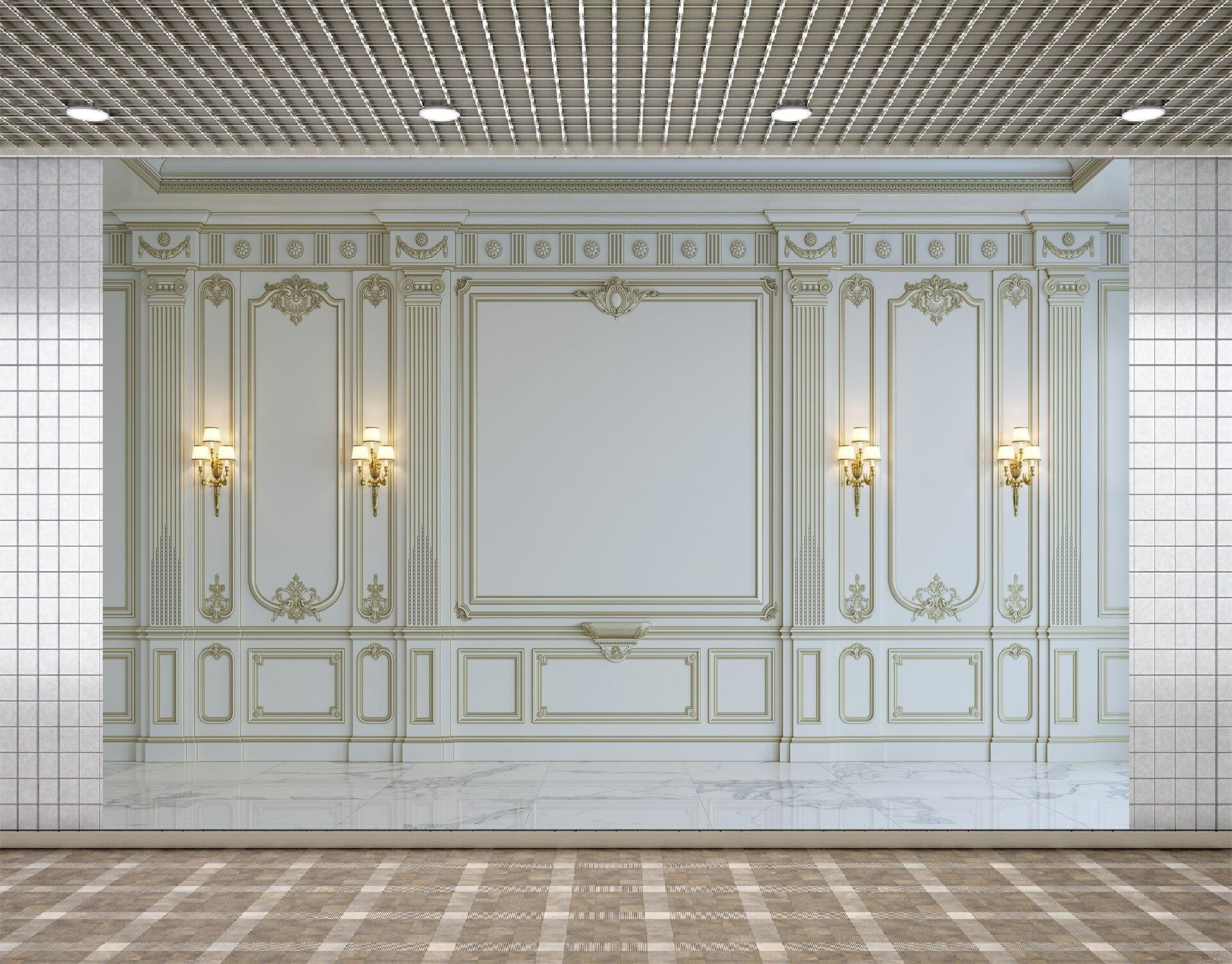 Pano de Fundo Lyavshi Branco Clássico Parede Porta Lamplight Palácio Fundo Decoração Foto Estúdio Fotografia