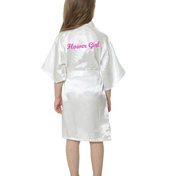 Sisbigdey Kids' Satin Kimono Robe flower girl writing white pink Bathrobe Wedding Birthday girls bri