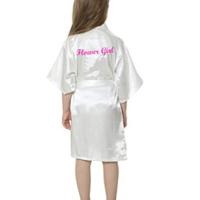 Sisbigdey Kids' Satin Kimono Robe flower girl writing white pink Bathrobe Wedding Birthday girls bri
