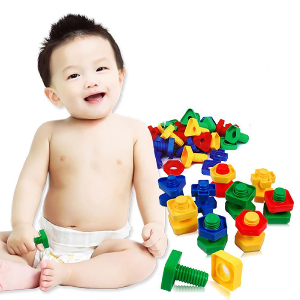 40 шт./компл. Детские гайки, болты, игрушка, 3D Красочные гайки, болты, конструктор, игра-головоломка, интеллектуальные игрушки для детей, «сдел...