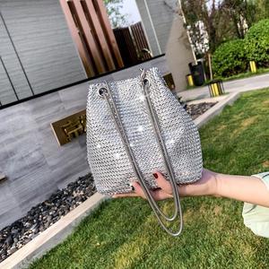 Bucket bag makeup bag mobile phone bag super flash water drill chain bag  concave shape diagonal cross small bag new female