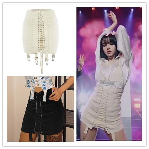 Kpop IU Seo Yea Ji صيف جديد مثير الشرير غير النظامية الدانتيل متابعة تنورة النساء ملهى ليلي الهيب هوب كلوبوير القوطية حزمة الورك التنانير الصغيرة