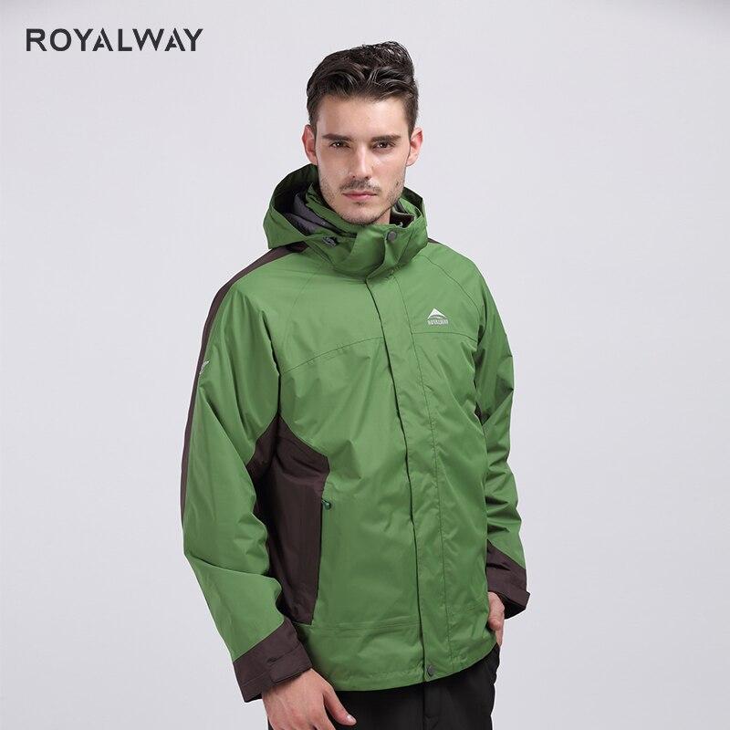ROYALWAY Winter Camping senderismo cortavientos de alta calidad forro polar removible 2 piezas para hombres viaje al aire libre ROM5347D