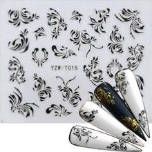 30 Styles autocollant pour ongles noir et or fleur/amour/dentelle/lettre vigne diamant collier Gel vernis curseur accessoires Nail Art décalcomanies