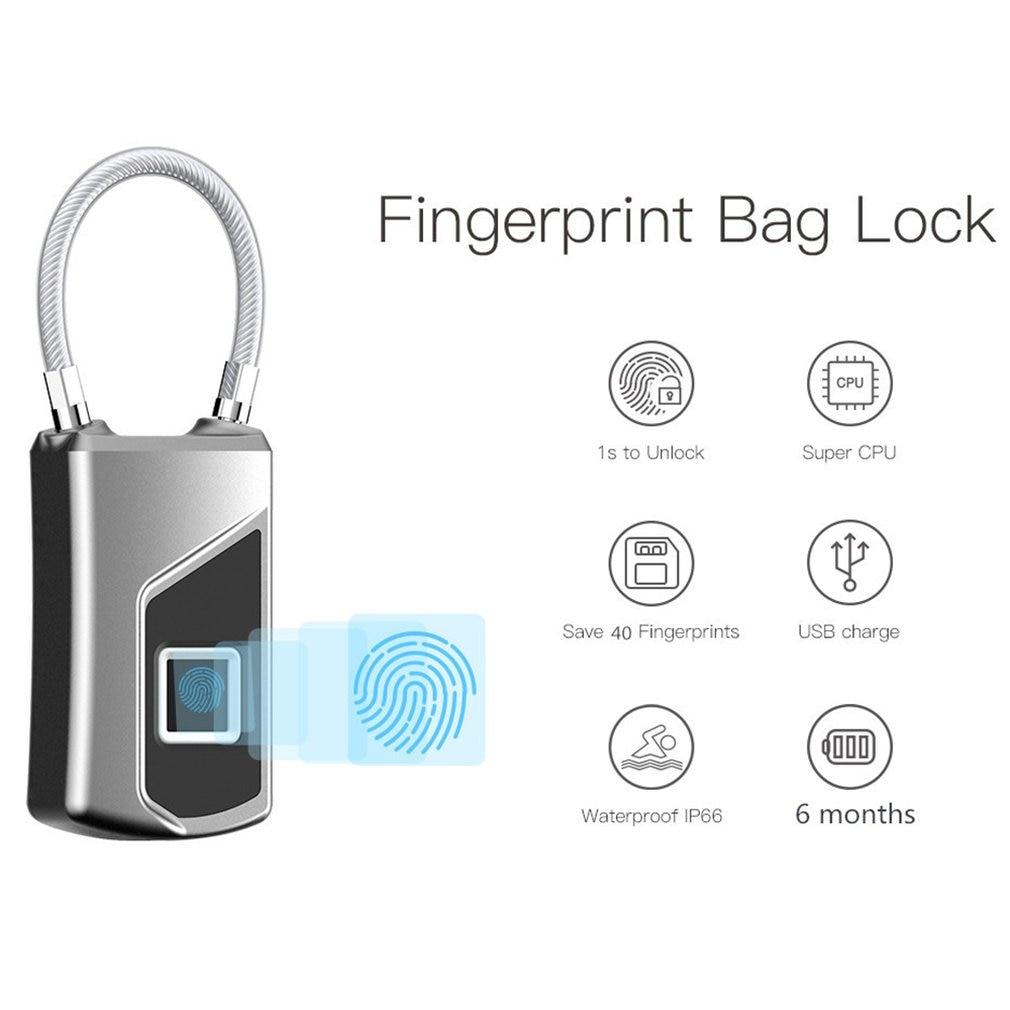 Inteligente a prueba de agua inalámbrico de huella dactilar maleta Anti-robo largo espera candado electrónico USB de carga de la aplicación de Control
