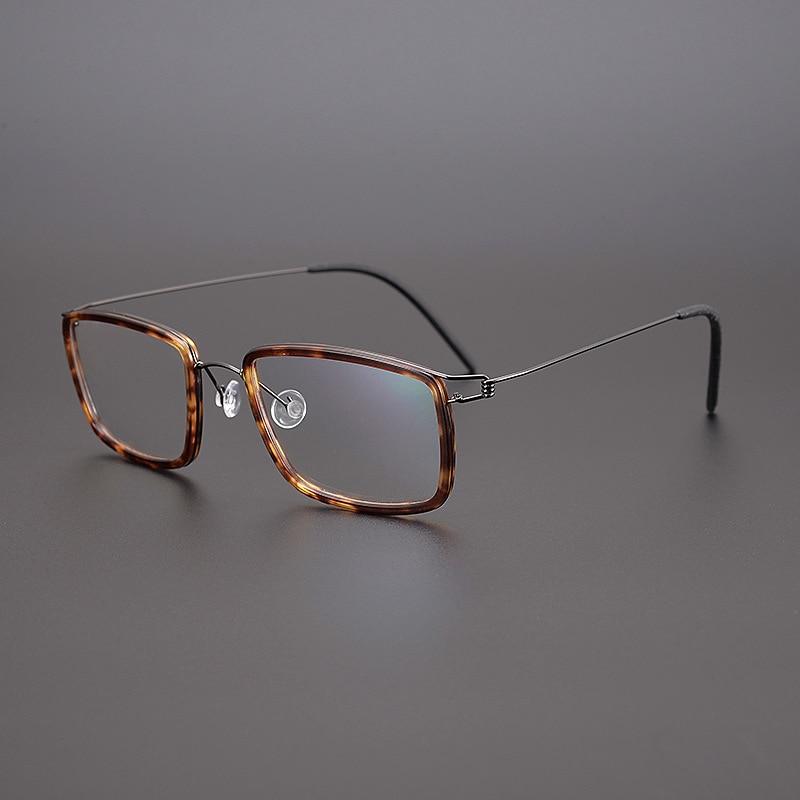 الدنمارك العلامة التجارية تصميم خمر مربع خفيفة التيتانيوم خلات وصفة النظارات الإطار الرجال Gafas النساء النظارات البصرية