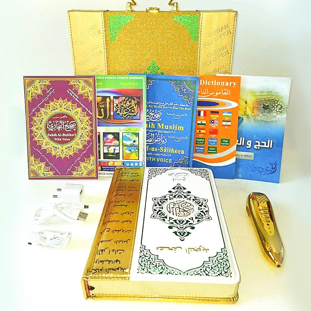 Corán musulmán Bolígrafo Lector islámico sagrado Corán libro con voz que habla diccionario Corban regalo Corban con cinco libros multilingüe