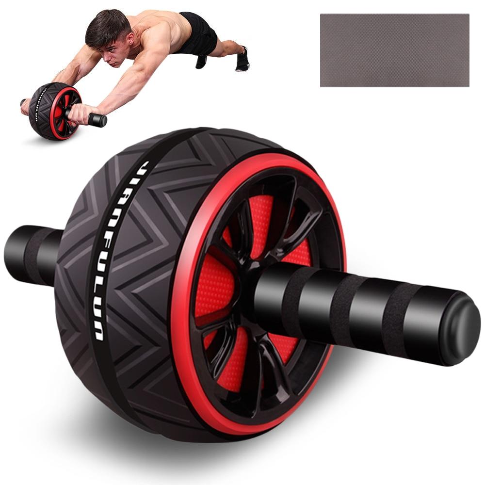 Rolo mudo do equipamento da aptidão da roda do exercício do rolo abdominal para os braços volta a forma do corpo do instrutor do núcleo da barriga com almofada livre do joelho