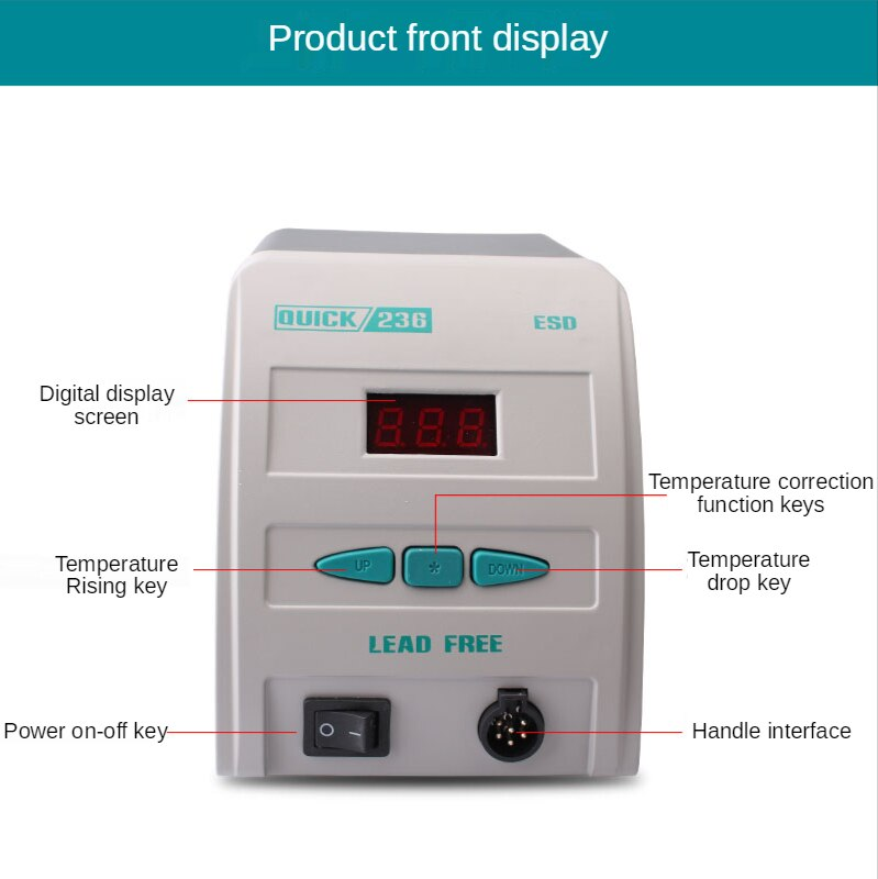 Original antistatic 236 ESD fast gram display lead-free welding iron 90w display specification soldering station+iron tip enlarge
