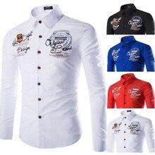 Zogaa бренды Geek мужские рубашки с длинным рукавом Корейская рубашка с буквенным принтом Soild Smart повседневные рубашки Мужская модная рубашка одежда