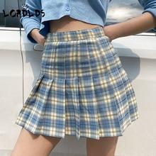 LORDLDS Women Plaid Pleated skirt Blue Purple Summer Short Mini Skirts Ladies High Waist Saia Faldas