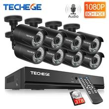 Techege H.265 8CH 1080P HDMI POE NVR Kit CCTV Security System 2.0MP IR Outdoor Audio Record IP Camera P2P Video Surveillance Set