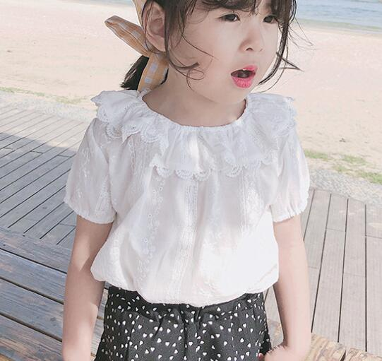 Toddler Newborn Baby Cute Sweet Baby Girls Puff Sleeve Blouse Kids Lace Casual White Shirt Summer Tops Kids 1-6Y