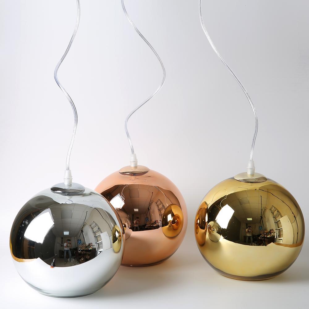 الحديث مطلي الكرة الذهبية قلادة أضواء الزجاج LED Hanglamp المطبخ معلقة ضوء غرفة المعيشة مقهى الإنارة