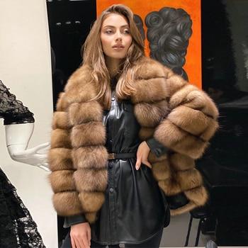 Women's Fox Fur Jacket Turn-down Collar Medium Length Woman Natural Fur Overcoats Luxury Female Genuine Fox Fur Coat Full Pelt