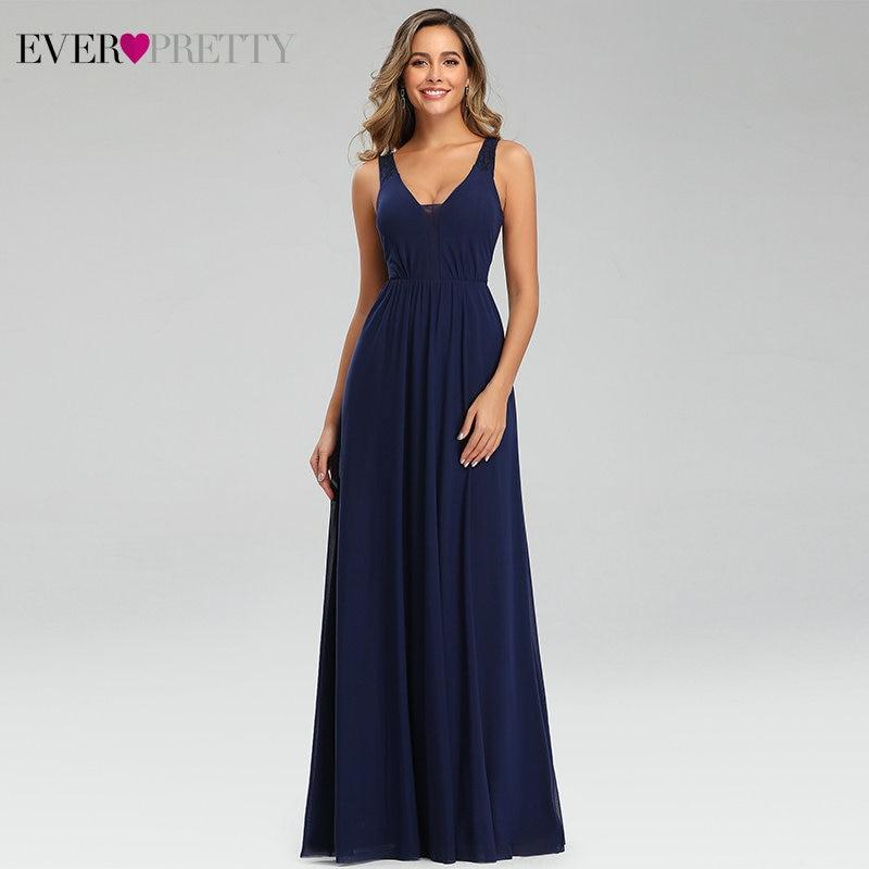 Sexy Navy Blue Prom Dresses Ever Pretty Sleeveless A-Line Double V-Neck Draped Elegant Formal Dresses For Party Gala Jurken 2020