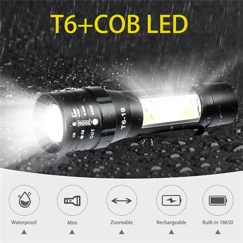 XANES T6 + COB 4 Modos Frente + Luz Lateral USB Recarregável Zoomable Mini Lanterna LED À Prova D Água para Camping Tocha portátil