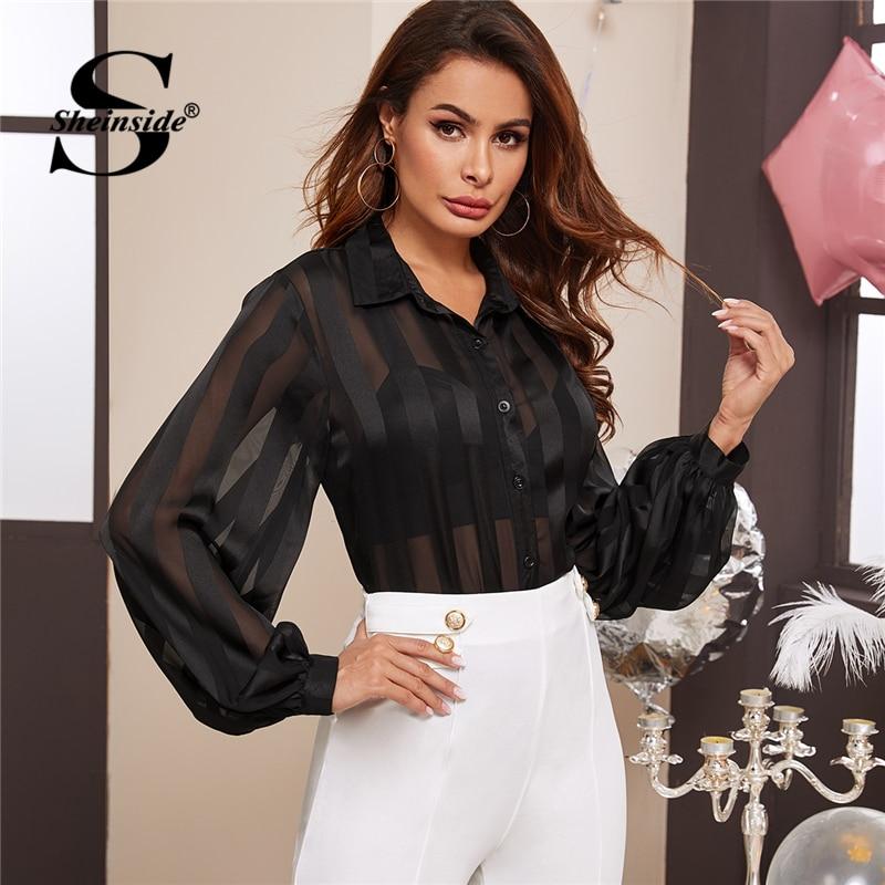 Sheinside elegante de malla transparente de obispo manga camisa blusa de las mujeres de la primavera de 2020 botón blusas de Damas Top negro