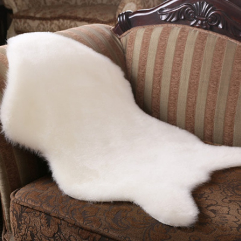 Soft Chair Cover Warm Faux Fur Rug Sheepskin Plain Fluffy Washable Pad Skin Carpet Fluffy Fur Home Room Rug Small Rug  40x60cm