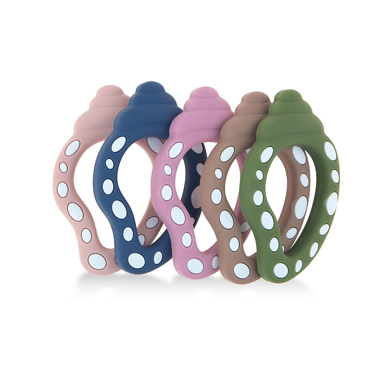 5PCS Silicone Big Sea Snail Teether DIY Teething Necklace Toy BPA Free Food Grade Silicone Teether Nursing Chain Beads