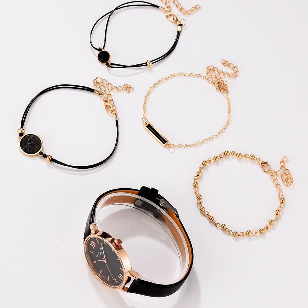 Watch Set Women 5pcs Woman Quartz Wristwatch Leather Ladies Bracelet Luxury Watch Casual Relogio Femenino Gift For Girlfriend enlarge