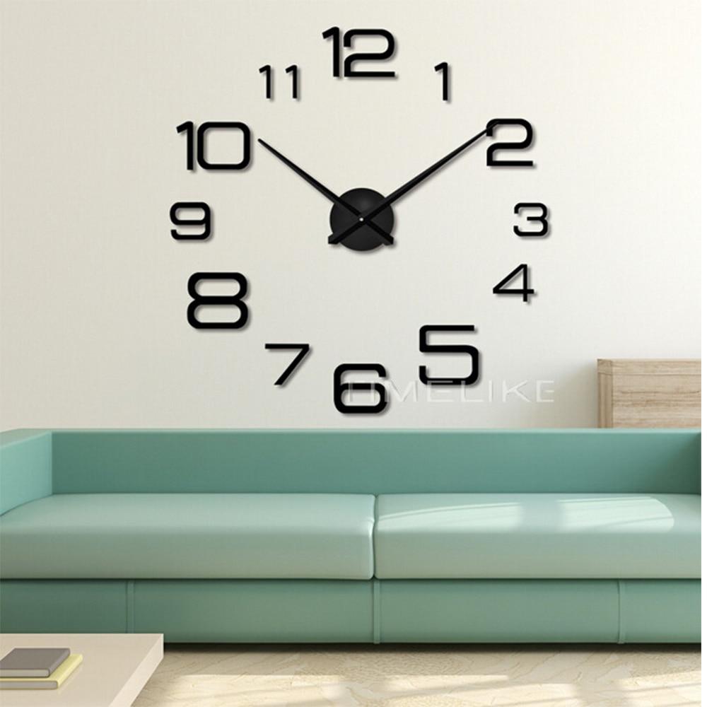 Reloj De pared grande 3D para sala De estar, pegatinas De espejo para pared, mecanismo De reloj De cuarzo, agujas De Horloge, reloj De pared Decorativo