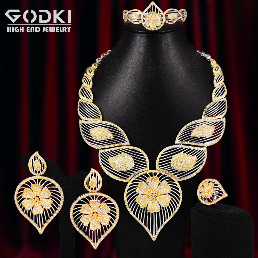 GODKI Super Big Luxury 4PCS Lucky Clover Africa Cubic Zirconia Set Jewelry Set For Women Wedding Cubic Zirconia Dubai Bridal Set