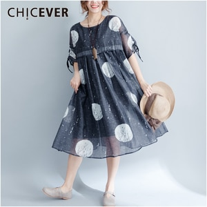 CHICEVER Casual Dot Women Dress O Neck Puff Half Sleeve High Waist Ruched Hit Color Female Dresses Fashion 2020 Spring Clothing